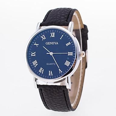 رجالي نسائي ساعة المعصم كوارتز جلد اصطناعي أسود ساعة كاجوال مماثل موضة - أبيض أزرق