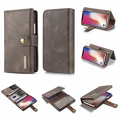 Недорогие Кейсы для iPhone 7-Кейс для Назначение Apple iPhone X / iPhone 8 Pluss / iPhone 8 Кошелек / Бумажник для карт / Флип Чехол Однотонный Твердый Кожа PU