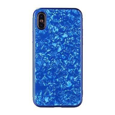 رخيصةأون أغطية أيفون-غطاء من أجل Apple iPhone X / iPhone 8 Plus / iPhone 8 مرآة / مطرز غطاء خلفي نموذج هندسي قاسي زجاج مقوى