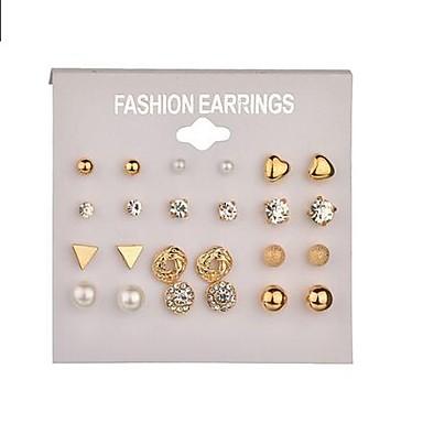 ieftine Cercei-Pentru femei Perle Cercei Stud Cercei Rotunzi Geometric femei Simplu De Bază Imitație de Perle cercei Bijuterii Auriu / Argintiu Pentru Zilnic Serată 12 perechi / 24pcs