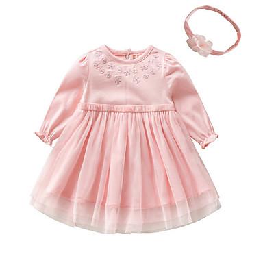 povoljno Odjeća za bebe-Dijete Djevojčice Osnovni Jednobojni Dugih rukava Pamuk Haljina Obala / Dijete koje je tek prohodalo