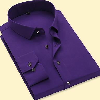 رخيصةأون قمصان رجالي-رجالي مناسب للحفلات / عمل الأعمال التجارية / أساسي قطن قميص, لون سادة / كم طويل
