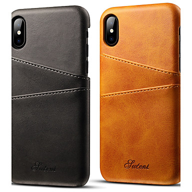 voordelige iPhone X hoesjes-hoesje Voor Apple iPhone X / iPhone 8 / iPhone 7 Plus Kaarthouder Achterkant Effen Hard PU-nahka