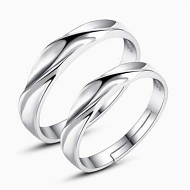 olcso Divat gyűrűk-Páros Páros gyűrűk Ezüst Ezüst hölgyek Egyszerű Klasszikus Napi Ékszerek Matching Ő és ő Twist Kör Barátság