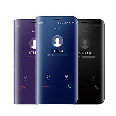 Недорогие Чехлы и кейсы для Galaxy А-Кейс для Назначение SSamsung Galaxy A5(2018) / A6 (2018) / Galaxy A7(2018) Покрытие / Зеркальная поверхность / Флип Чехол Однотонный Твердый Силикон
