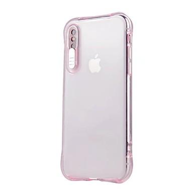 رخيصةأون أغطية أيفون-غطاء من أجل Apple iPhone X / iPhone 8 Plus / iPhone 8 LEDضوء فلاش / شفاف غطاء خلفي لون سادة ناعم TPU
