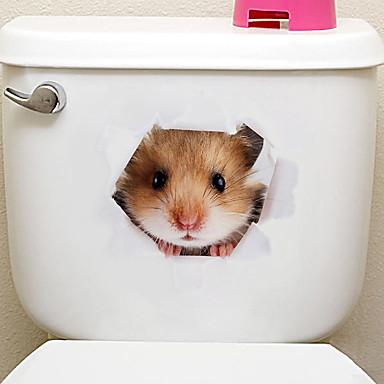 Frižider Naljepnice Naljepnice za WC - Naljepnice za zidne zidove Životinje 3D Stambeni prostor Spavaća soba Kupaonica Kuhinja Trpezarija