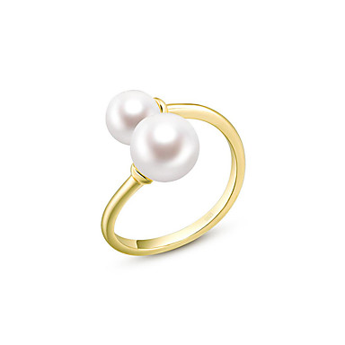 e9a07b66393ec [$43.19] Women's Freshwater Pearl Open Ring Stainless Steel Gold Plated  S925 Sterling Silver Ladies Simple Fashion Elegant Ring Jewelry Gold / Rose  ...