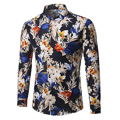 رخيصةأون قمصان رجالي-رجالي عمل الأعمال التجارية قياس كبير - قطن قميص, ورد / كم طويل