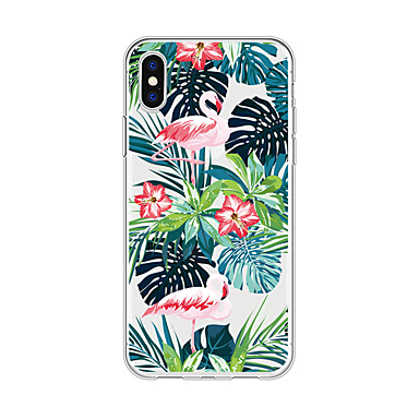 voordelige iPhone X hoesjes-hoesje Voor Apple iPhone X / iPhone 8 Plus / iPhone 8 Patroon Achterkant Planten / Flamingo / Cartoon Zacht TPU