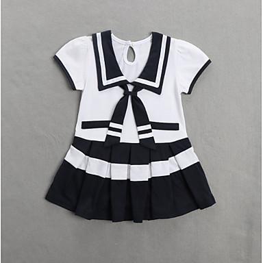 povoljno Odjeća za bebe-Dijete Djevojčice Slatko Color block Kratkih rukava Haljina Plava