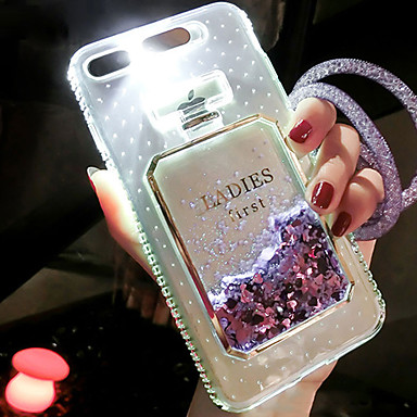 voordelige iPhone-hoesjes-hoesje Voor Apple iPhone 8 Plus / iPhone 8 / iPhone 7 Plus Stromende vloeistof / LED-knipperlicht Achterkant Glitterglans Hard TPU