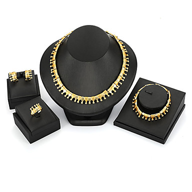 رخيصةأون أطقم المجوهرات-نسائي مجموعة مجوهرات سيدات عتيق موضة المتضخم الأقراط مجوهرات ذهبي من أجل حفلة ليلية مناسب للخارج