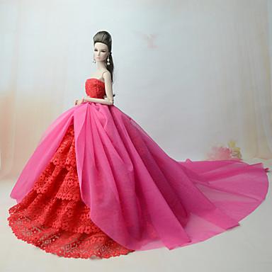 a16b03d983b8 Kjoler Kjole Til Barbiedoll Rosa Polyester   Bomuld   Blonde Kjole Til Pigens  Dukke Legetøj 6690932 2019 – €10.79