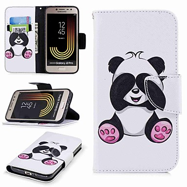 baratos Capinhas para Galaxy Série J-Capinha Para Samsung Galaxy J7 (2017) / J5 (2017) / J5 (2016) Carteira / Porta-Cartão / Com Suporte Capa Proteção Completa Panda Rígida PU Leather
