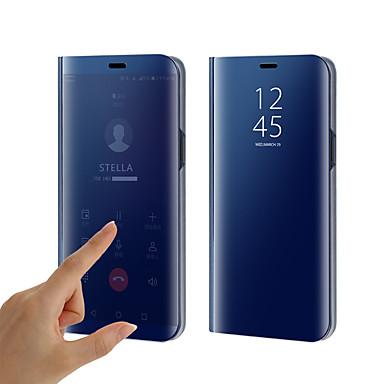 Недорогие Чехлы и кейсы для Galaxy S6 Edge-Кейс для Назначение SSamsung Galaxy S9 / S9 Plus / S8 Plus Покрытие / Зеркальная поверхность / Флип Чехол Однотонный Твердый Силикон