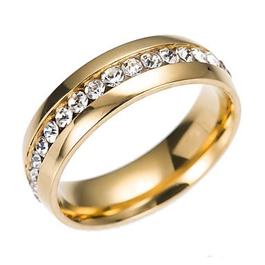 levne Široké prsteny-Dámské Band Ring Eternity Ring Groove kroužky Kubický zirkon drobný diamant Zlatá Stříbrná Nerezové Circle Shape dámy Klasické Módní Svatební Zásnuby Šperky Levný