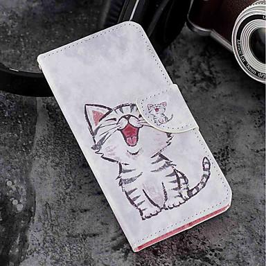 غطاء من أجل موتورولا MOTO G6 / Moto G6 Plus / Moto G5s Plus محفظة / حامل البطاقات / مع حامل غطاء كامل للجسم قطة قاسي جلد PU