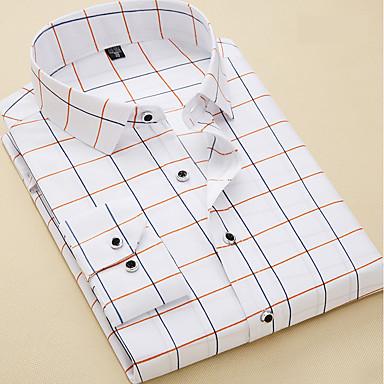 رخيصةأون قمصان رجالي-رجالي عمل الأعمال التجارية / أساسي قميص, منقوش / كم طويل