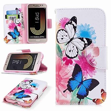 رخيصةأون حافظات / جرابات هواتف جالكسي J-غطاء من أجل Samsung Galaxy J7 (2017) / J7 (2016) / J7 محفظة / حامل البطاقات / مع حامل غطاء كامل للجسم فراشة قاسي جلد PU