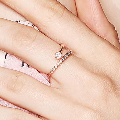 billige Ringer i roségull-Dame Åpne Ring Diamant Kubisk Zirkonium liten diamant Rose Gull 18K Gullbelagt S925 Sterling Sølv Dainty damer Aftenselskap Nybegynner Smykker Blomst / Botanikk Blomst