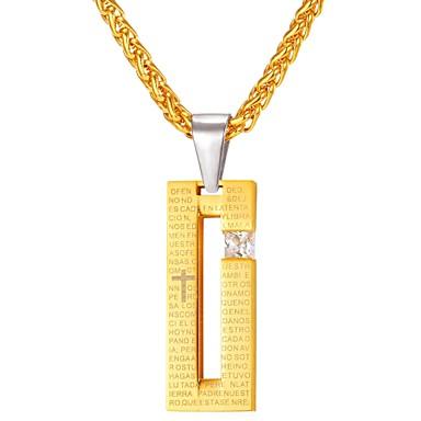 Недорогие Ожерелья-Бриллиант Цирконий Ожерелья с подвесками геометрический Цепь Foxtail Мода вера Нержавеющая сталь Черный Золотой 55 cm Ожерелье Бижутерия Назначение Повседневные