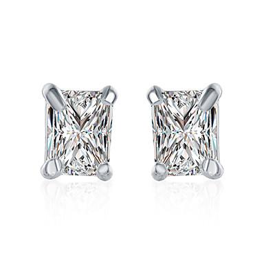 نسائي الماس مكعب زركونيا أقراط الزر سيدات أساسي حلو الأقراط مجوهرات فضي من أجل مناسب للبس اليومي رسمي 1 زوج