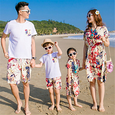 cheap Family Matching Outfits-Family Look Basic Daily Solid Colored Short Sleeve Clothing Set Red