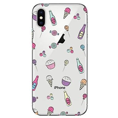 Недорогие Кейсы для iPhone-Кейс для Назначение Apple iPhone X / iPhone 8 Pluss / iPhone 8 Прозрачный / С узором Кейс на заднюю панель Продукты питания / Мороженное Мягкий ТПУ