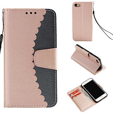 غطاء من أجل Apple iPhone 8 / iPhone 7 محفظة / حامل البطاقات / مع حامل غطاء كامل للجسم لون سادة قاسي جلد PU