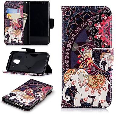 غطاء من أجل Samsung Galaxy A8 2018 محفظة / حامل البطاقات / مع حامل غطاء كامل للجسم فيل قاسي جلد PU