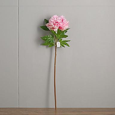 زهور اصطناعية 1 فرع كلاسيكي زهري الفاوانيا أزهار الأرض
