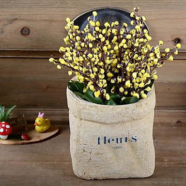 زهور اصطناعية 1 فرع كلاسيكي أنيق زهري لون برقوق أزهار الطاولة