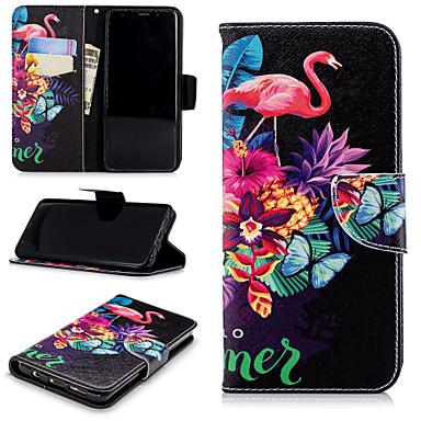 Недорогие Чехлы и кейсы для Galaxy S-Кейс для Назначение SSamsung Galaxy S9 / S9 Plus / S8 Plus Кошелек / Бумажник для карт / со стендом Чехол Фламинго Твердый Кожа PU