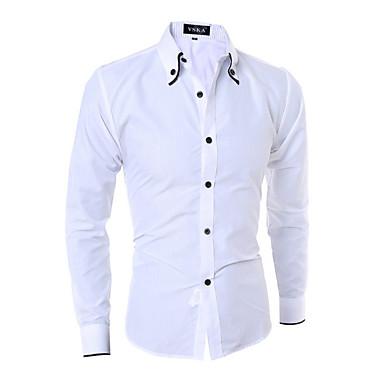 رجالي عمل الأعمال التجارية / أساسي قطن قميص, لون سادة نحيل / كم طويل / الربيع