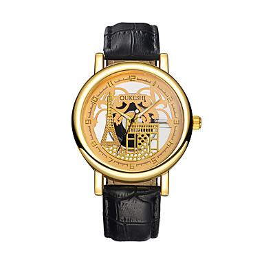 رجالي ساعة الهيكل ساعة المعصم كوارتز جلد أسود / بني نقش جوفاء ساعة كاجوال مماثل برج ايفل موضة - أسود بني