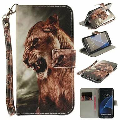غطاء من أجل Samsung Galaxy S7 edge محفظة / حامل البطاقات / مع حامل غطاء كامل للجسم حيوان قاسي جلد PU