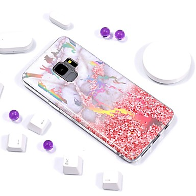 fodral Till Samsung Galaxy S9 / S9 Plus / S8 Plus Plätering / IMD / Mönster Skal Marmor Mjukt TPU