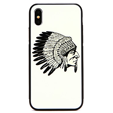 voordelige iPhone-hoesjes-hoesje Voor Apple iPhone X / iPhone 8 Plus / iPhone 8 Patroon Achterkant Schild Hard Gehard glas