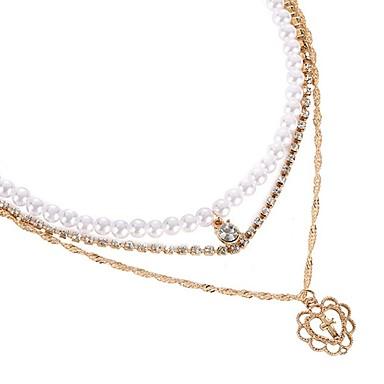 نسائي القلائد الطبقات وردة سيدات كلاسيكي موضة لؤلؤ تقليدي سبيكة ذهبي 36 cm قلادة مجوهرات 1PC من أجل مناسب للبس اليومي