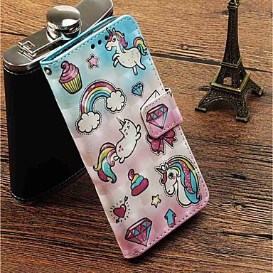 غطاء من أجل Apple iPhone X / iPhone 8 Plus محفظة / حامل البطاقات / مع حامل غطاء كامل للجسم آحادي القرن قاسي جلد PU إلى iPhone X / iPhone 8 Plus / iPhone 8