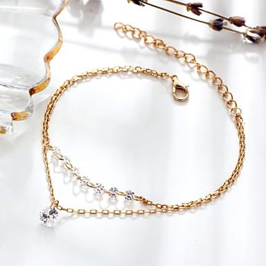 نسائي أساور السلسلة والوصلة قلب أنيق سيدات طبقة مزدوجة موضة سبيكة مجوهرات سوار ذهبي من أجل هدية مناسب للبس اليومي