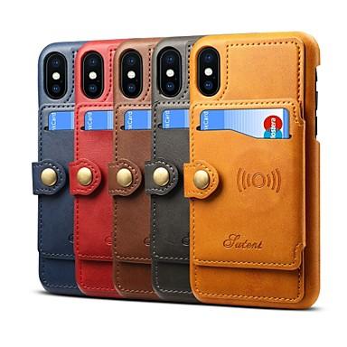 غطاء من أجل Apple iPhone XS / iPhone XR / iPhone XS Max حامل البطاقات / مع حامل غطاء كامل للجسم لون سادة قاسي جلد PU