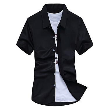 رجالي قميص نحيل لون سادة / كم قصير