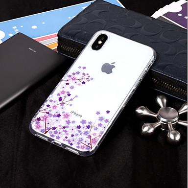voordelige iPhone 6 Plus hoesjes-hoesje Voor Apple iPhone X / iPhone 8 Plus / iPhone 8 IMD / Transparant / Patroon Achterkant Bloem Zacht TPU