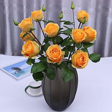 زهور اصطناعية 2 فرع كلاسيكي فردي الزفاف الحديث الورود الزهور الخالدة أزهار الطاولة