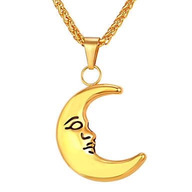 رجالي قلائد الحلي طويل MOON موضة الفولاذ المقاوم للصدأ ذهبي فضي 55 cm قلادة مجوهرات 1PC من أجل هدية مناسب للبس اليومي