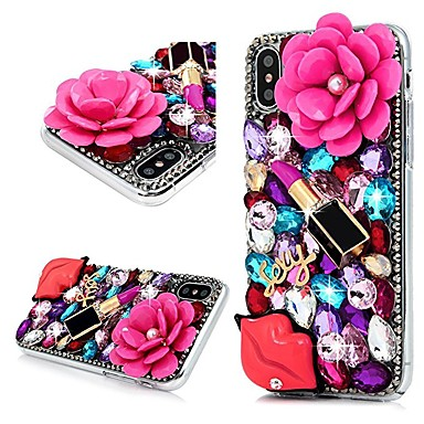 voordelige iPhone-hoesjes-hoesje Voor Apple iPhone X / iPhone 8 Plus / iPhone 8 Strass Achterkant Bloem Hard PC