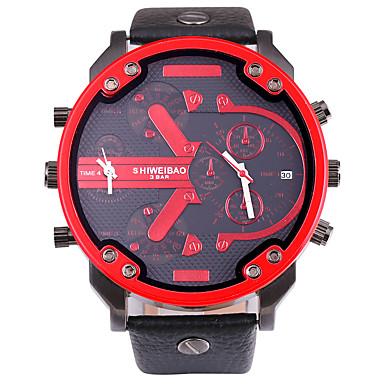 Недорогие Часы на кожаном ремешке-SHI WEI BAO Муж. Армейские часы Наручные часы Кварцевый Крупногабаритные На каждый день Календарь Аналоговый Белый Красный Синий / Один год / Кожа / Компас / С двумя часовыми поясами
