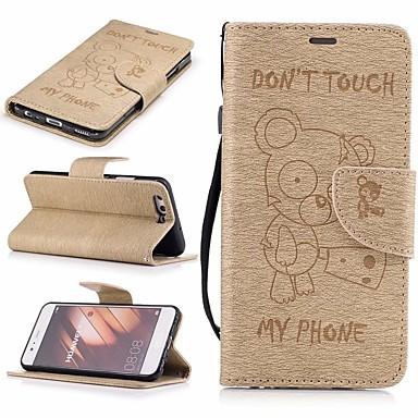 غطاء من أجل Huawei P10 محفظة / حامل البطاقات / مع حامل غطاء كامل للجسم حيوان قاسي جلد PU